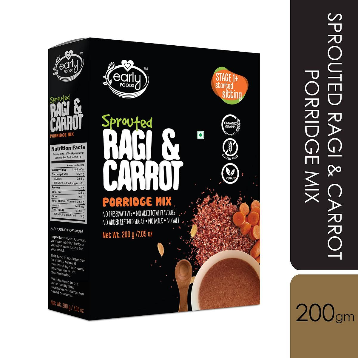Early Foods - Sprouted Ragi and Carrot Porridge Mix 200g