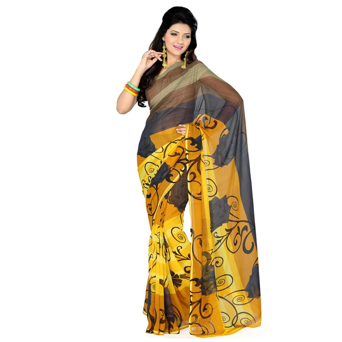 Yellow - Grey Casual Printed Saree