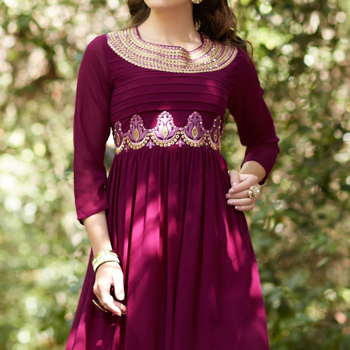 Dark Pink Embroidered Georgette Kurti