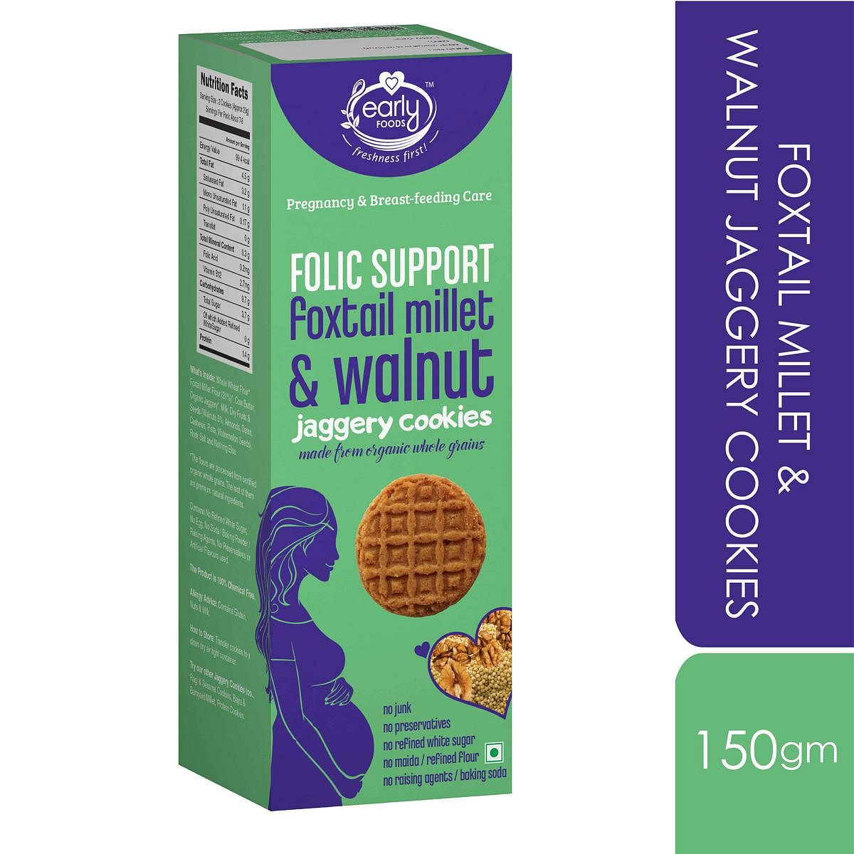 Early Foods - Foxtail Millet & Walnut Jaggery Cookies 150g