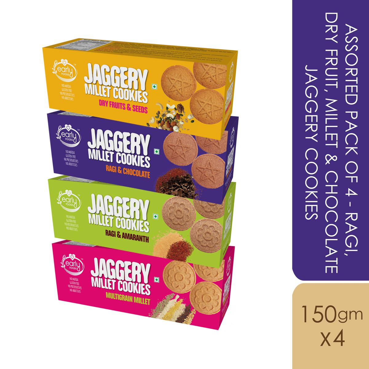 Early Foods - Assorted Pack of 4 - Ragi, Dry Fruit, Millet & Chocolate Jaggery Cookies X 4, 150g each