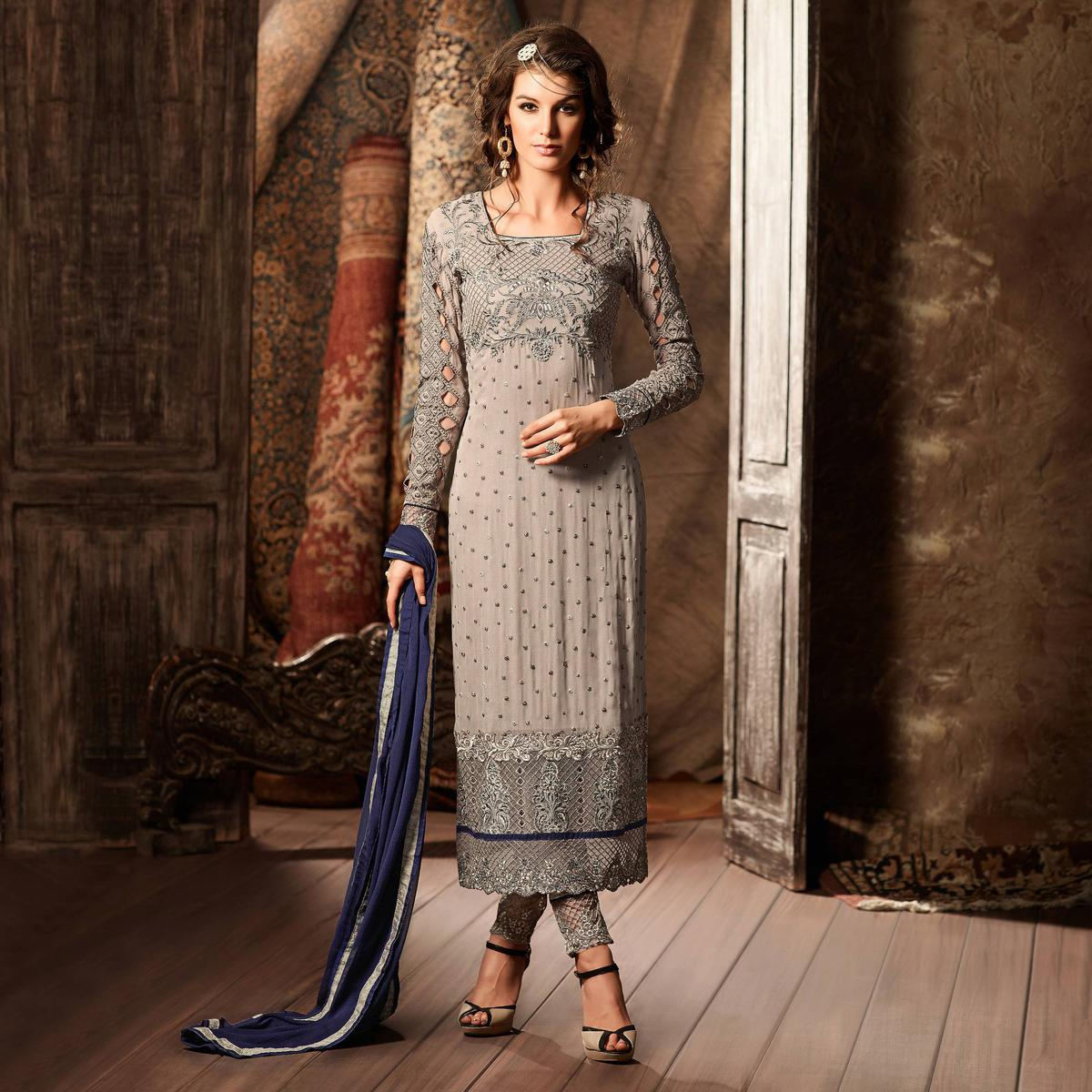 Grey Heavy Embroidered Straight Cut Suit