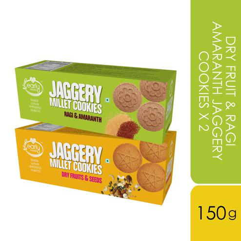 Early Foods - Assorted Pack of 2 - Dry Fruit & Ragi Amaranth Jaggery Cookies X 2, 150g each
