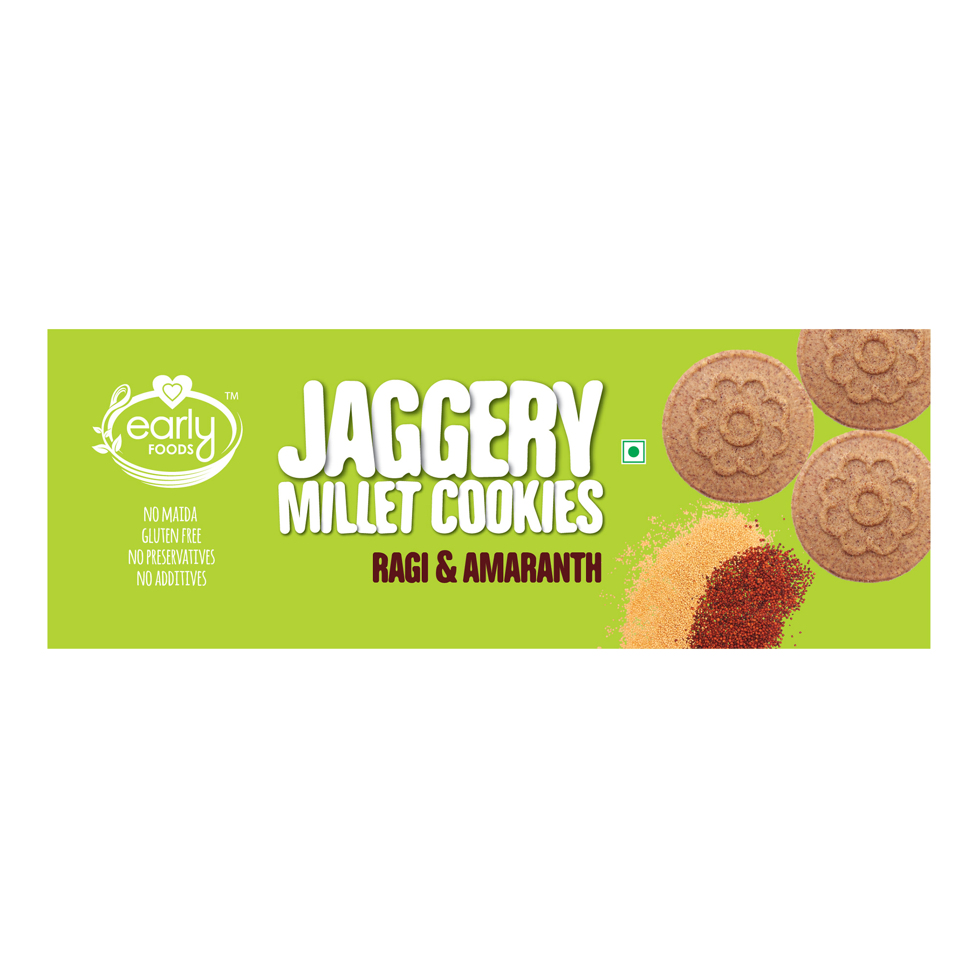 Early Foods - Pack of 2 - Organic Ragi & Amaranth Jaggery Cookies 150g X 2