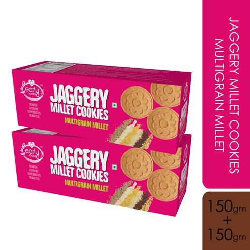 Early Foods - Pack of 2 - Organic Multi-grain Millet Jaggery Cookies 150g X 2