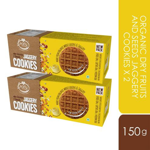 Early Foods - Pack of 2 - Organic Dry fruits and Seeds Jaggery Cookies 150g X 2