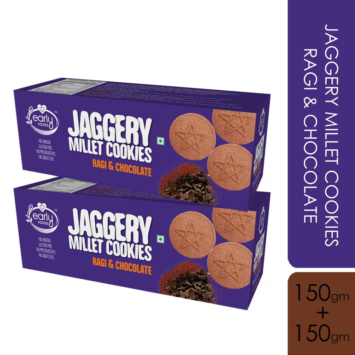 Early Foods - Pack of 2 - Organic Ragi and Choco Jaggery Cookies 150g X 2