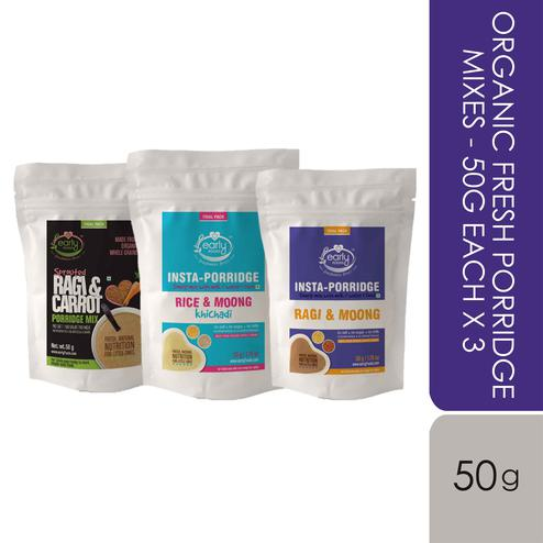 Early Foods - Stage 1 Trial Pack - Combo - Organic Fresh Porridge Mixes - 50g each X 3
