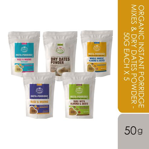 Early Foods - Travel Pack Combo (5 Trial Packs) - Organic Instant Porridge Mixes & Dry dates Powder - 50g each X 5