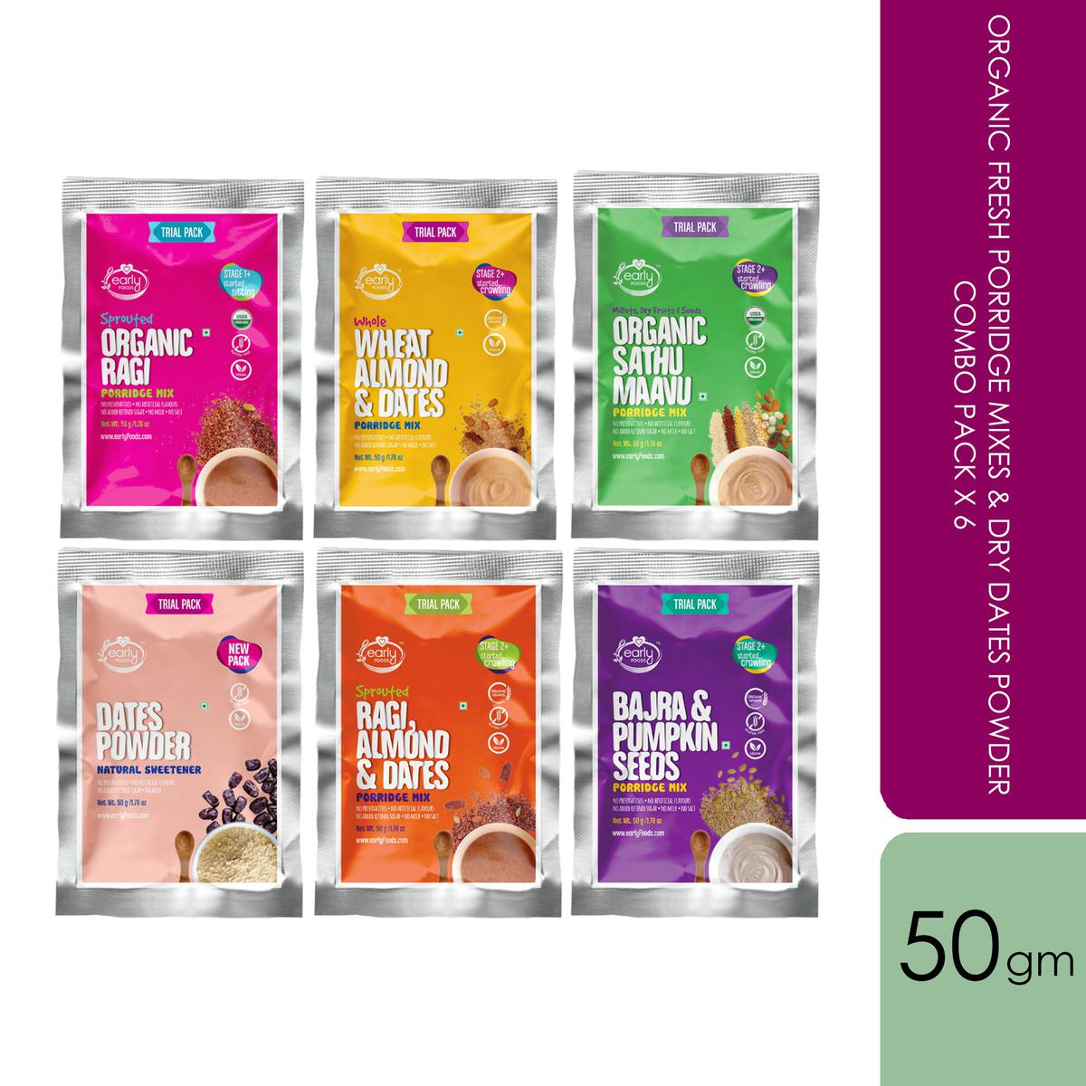 Early Foods - 6 Trial Pack Combo (Stage 2) - Organic & Fresh Porridge Mixes & Dry Dates Powder - 50g each X 6