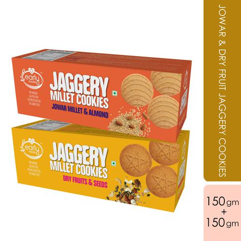 Early Foods - Assorted Pack of 2 - Jowar & Dry Fruit Jaggery Cookies X 2, 150g each