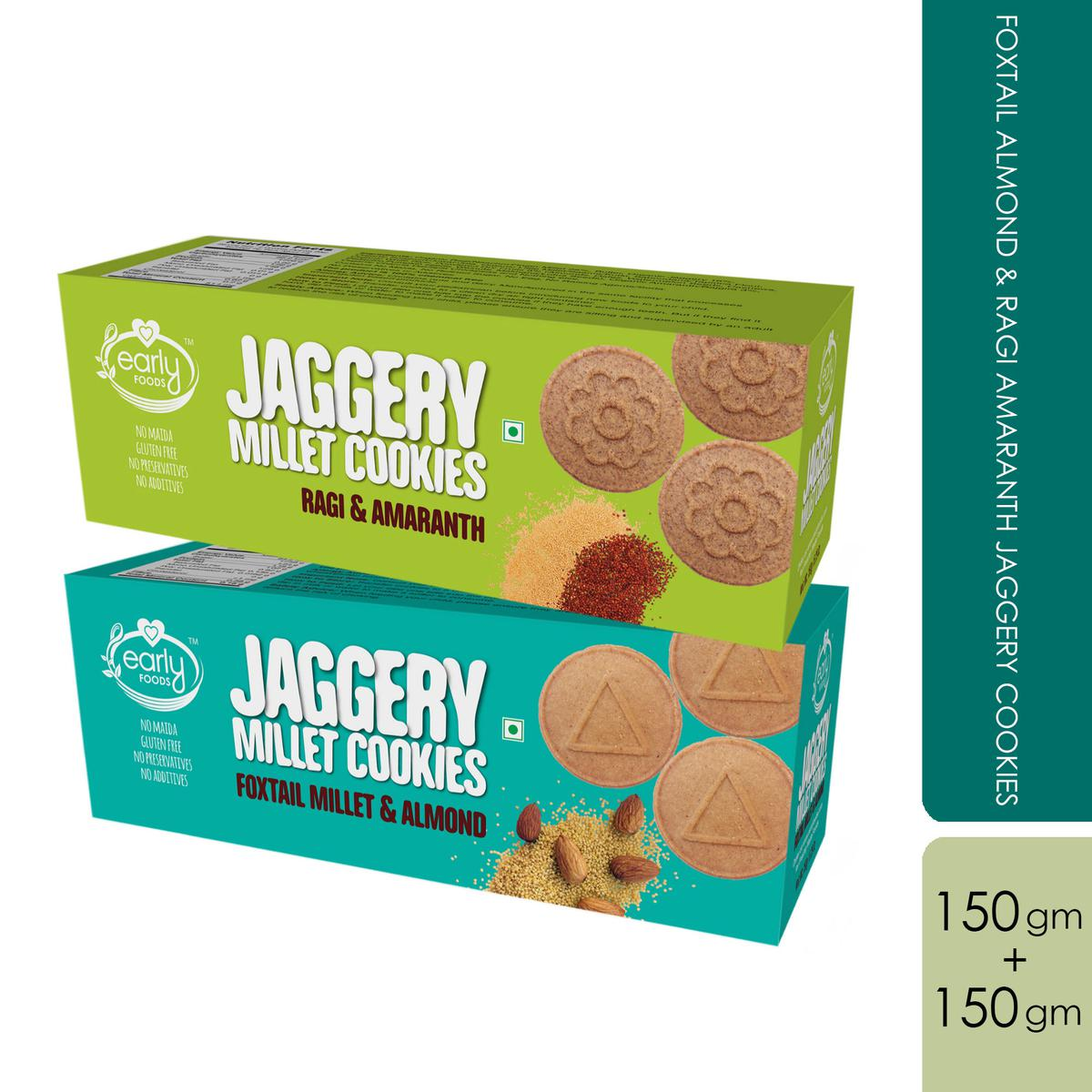 Early Foods - Assorted Pack of 2 - Foxtail Almond & Ragi Amaranth Jaggery Cookies X 2, 150g each