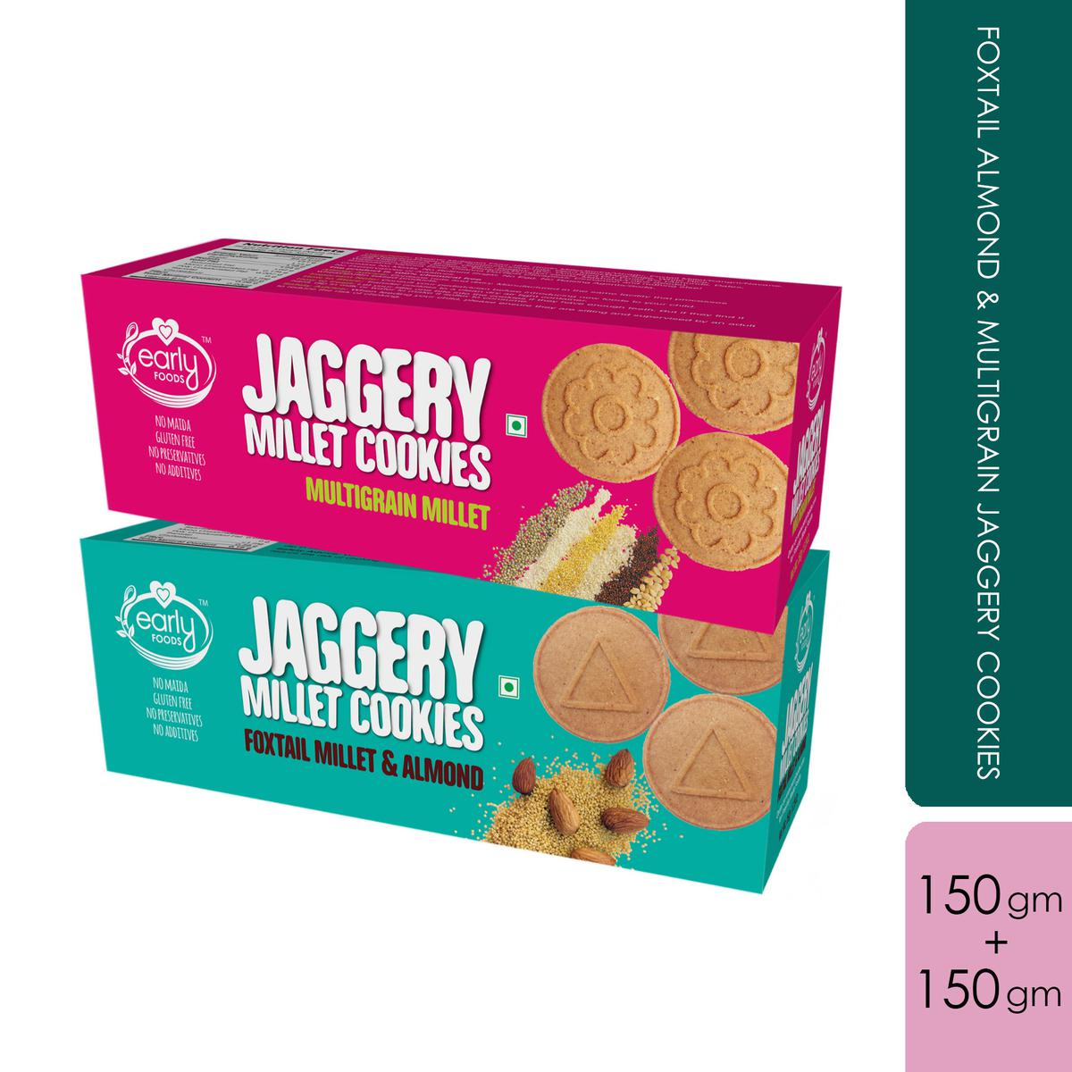 Early Foods - Assorted Pack of 2 - Foxtail Almond & Multigrain Jaggery Cookies X 2, 150g each