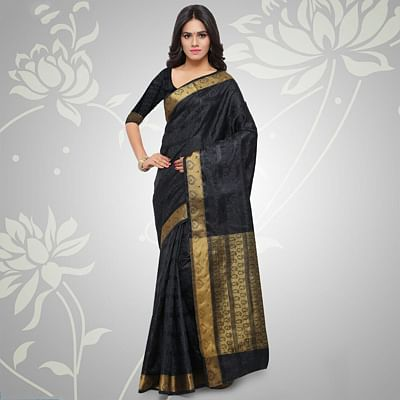 Black Paisley Work Silk Saree