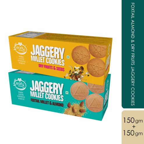 Early Foods - Assorted Pack of 2 - Foxtail Almond & Dry Fruit Jaggery Cookies X 2, 150g each