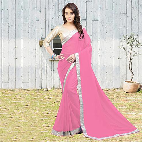Light Pink Georgette Saree