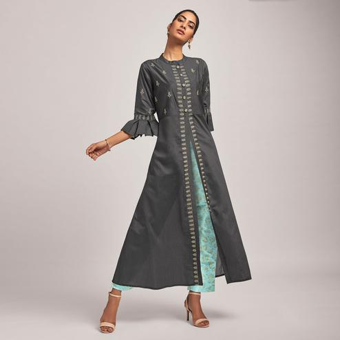 Glorious Grey Colored Party Wear Embroidered Viscose-Chanderi Silk Kurti-Pant Set