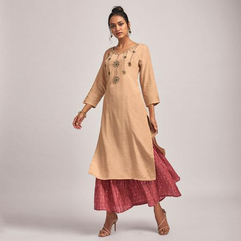 Adorable Mauve Colored Party Wear Embroidered Viscose-Raw Silk Kurti-Bottom Set