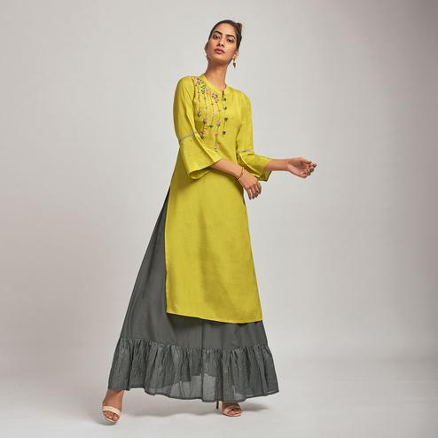 Attractive Olive Green Colored Party Wear Embroidered Viscose-Silk Kurti-Bottom Set
