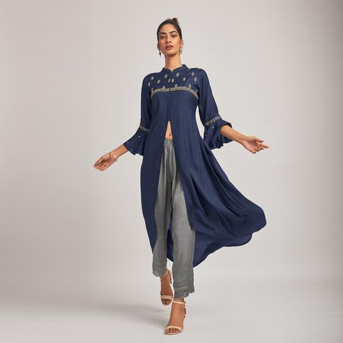 Intricate Navy Blue Colored Party Wear Embroidered Viscose-Silk Kurti-Pant Set