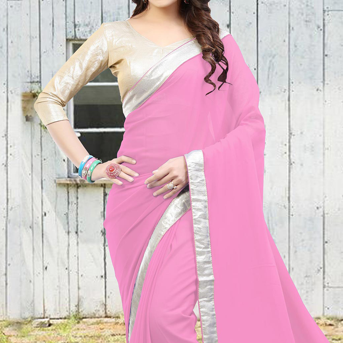 Rose Pink Saree with Lace Border