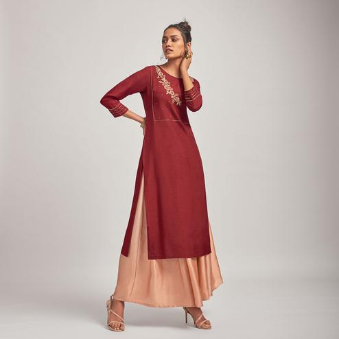 Arresting Maroon Colored Party Wear Embroidered Viscose-Silk Kurti-Bottom Set