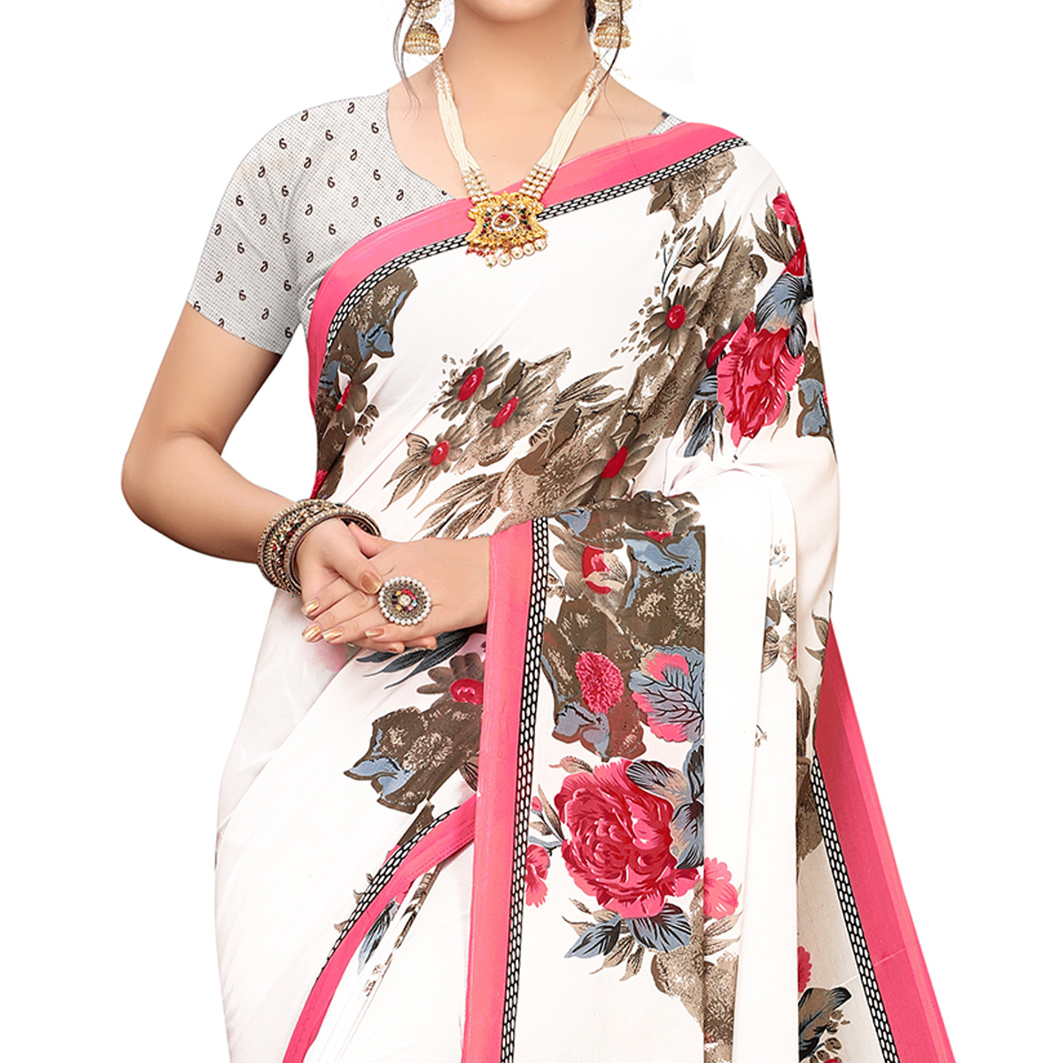 Off - White Floral Printed Georgette Saree