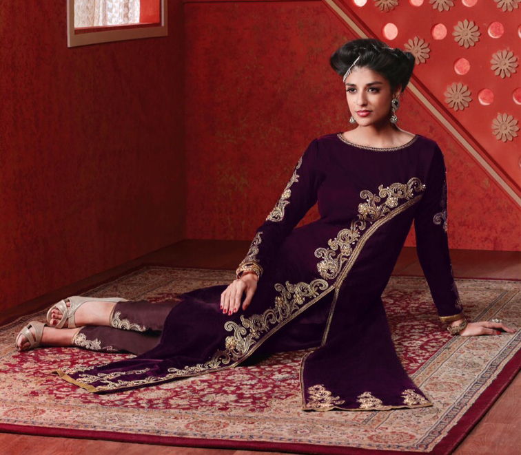 Purple Resham & Zari Work Velvet Suit