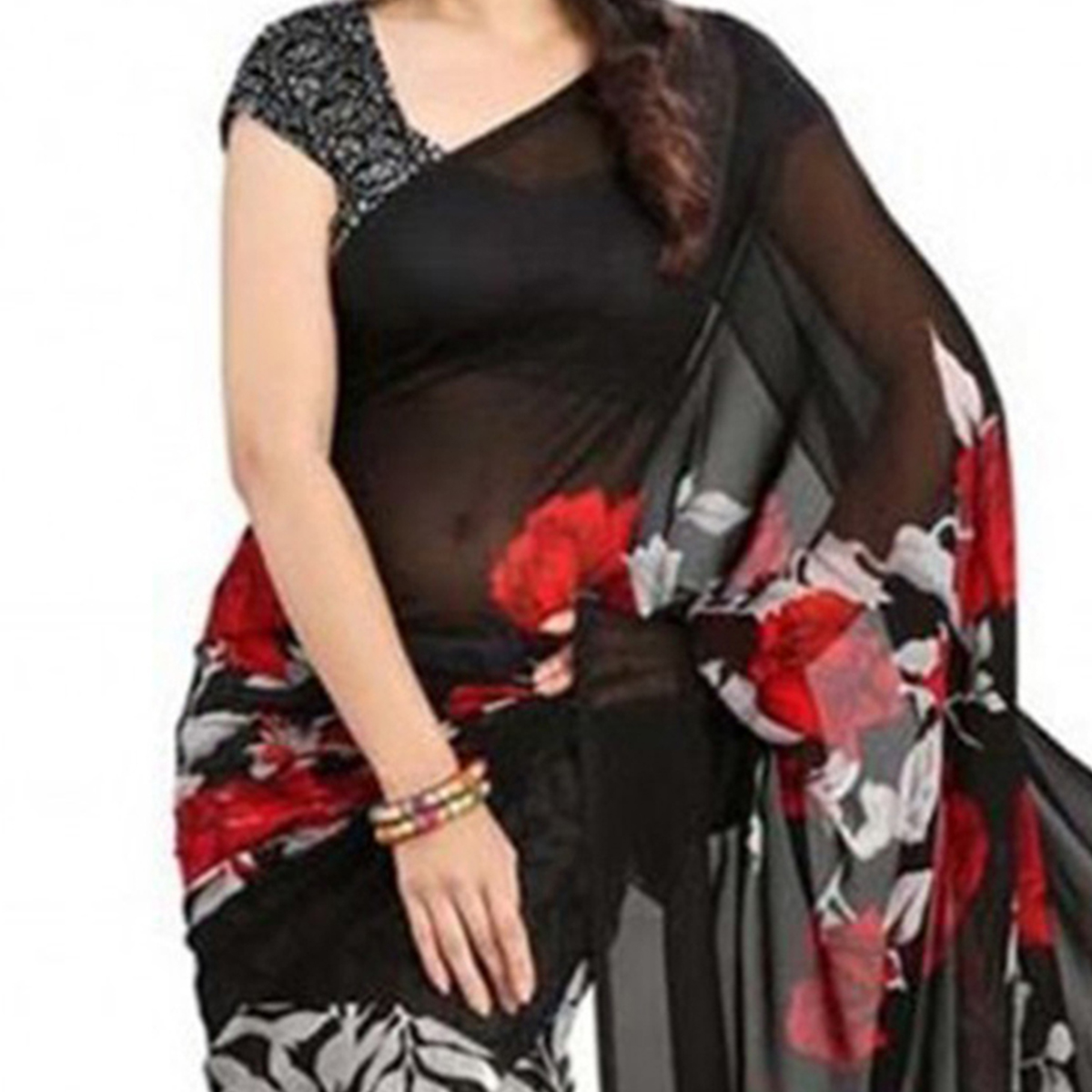 Black - Grey Floral Print Work Saree