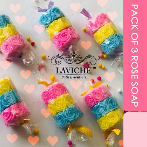 Laviche - Pack of 3 rose soap