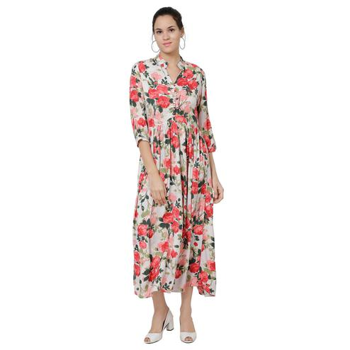 Attractive Off White & Red Casual Floral Printed Rayon Maxi Dress