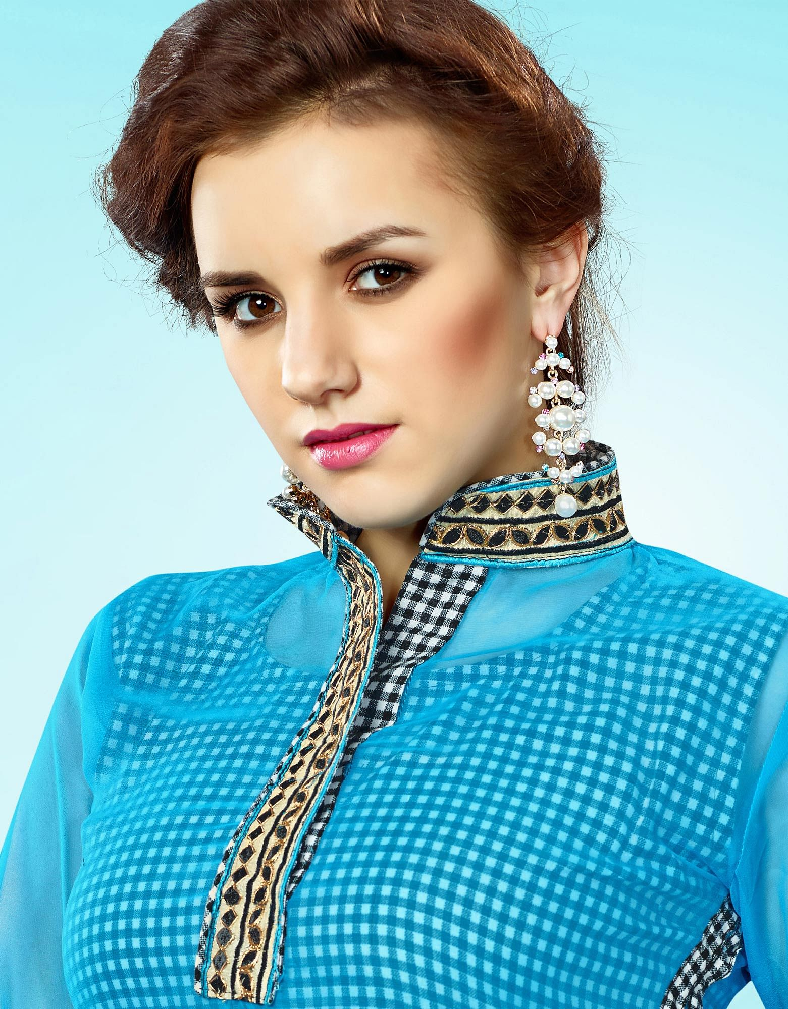 Blue - Black Geometrical Print Stitched Kurti
