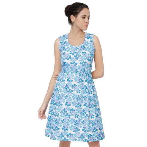Delightful Blue Colored Casual Floral Printed Cotton A-Line Midi Dress