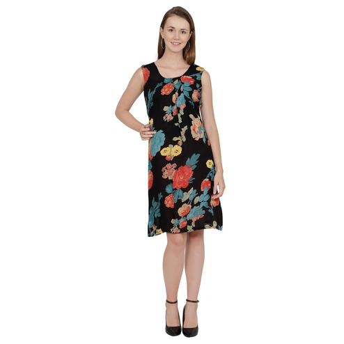 Captivating Black Colored Floral Printed Georgette Knee Length A-Line Dress