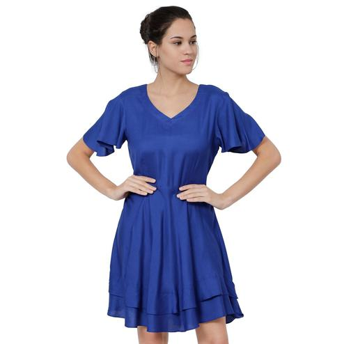Eye-Catching Navy Blue Casual Wear Rayon A-Line Midi Dress