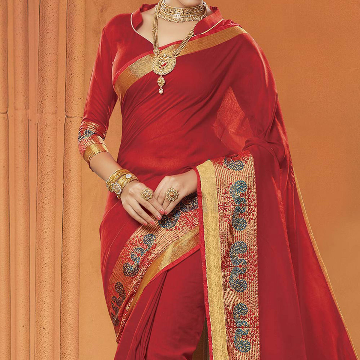 Maroon Festive Wear Cotton Saree