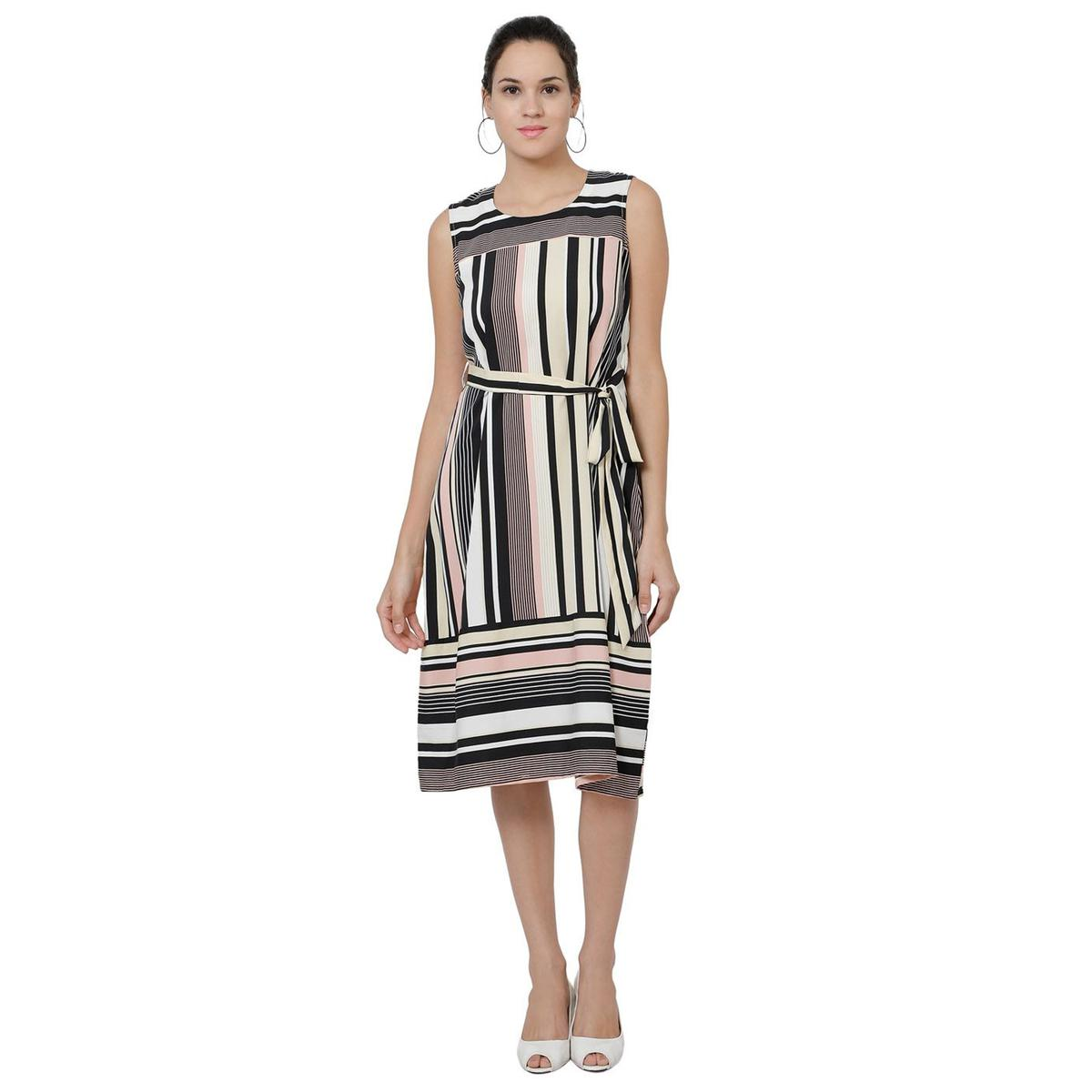 Ideal Multi Colored Casual Wear Striped Georgette Knee Length A-Line Dress