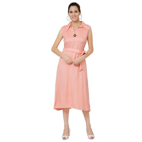 Imposing Peach Colored Casual Wear Rayon Knee Length A-Line Dress