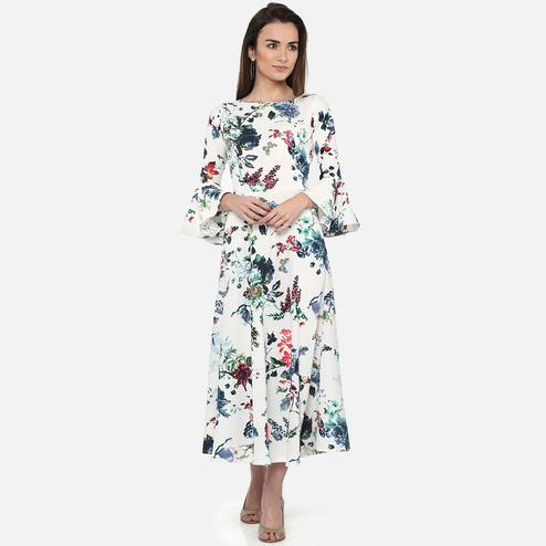 Lovely White Colored Casual Wear Floral Printed Georgette Maxi Dress