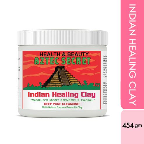 Aztec Secret- Indian Healing Clay Calcium Bentonite, Deep Pore Cleasing, De Tan Anti Acne Detoxifying Mask For Men & Women - 454gm
