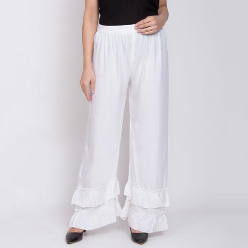 Desirable White Colored Casual Bubble Rayon Palazzo