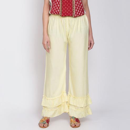Sophisticated Light Yellow Colored Casual Bubble Rayon Palazzo