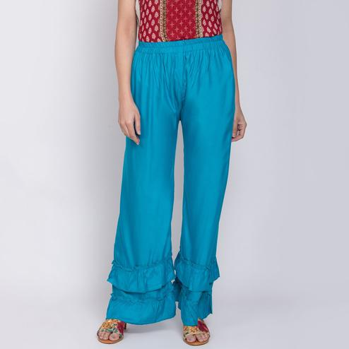Trendy Sky Blue Colored Casual Bubble Rayon Palazzo