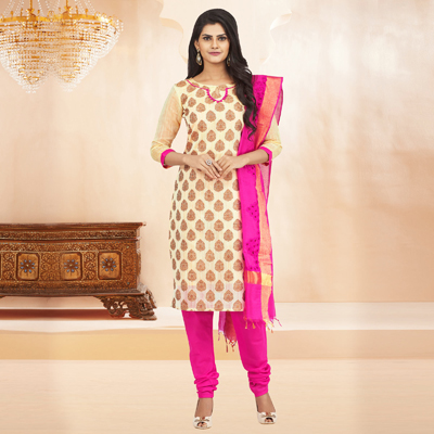 Cream Cotton Jacquard Unstitched Suit