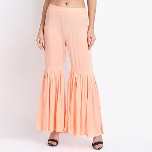 Energetic Peach Colored Casual Ankle Length Rayon-Crepe Sharara Palazzo