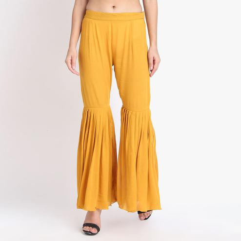 Exceptional Mustard Yellow Colored Casual Ankle Length Rayon-Crepe Sharara Palazzo