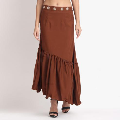 Prominent Brown Colored Partywear Crepe Skirt