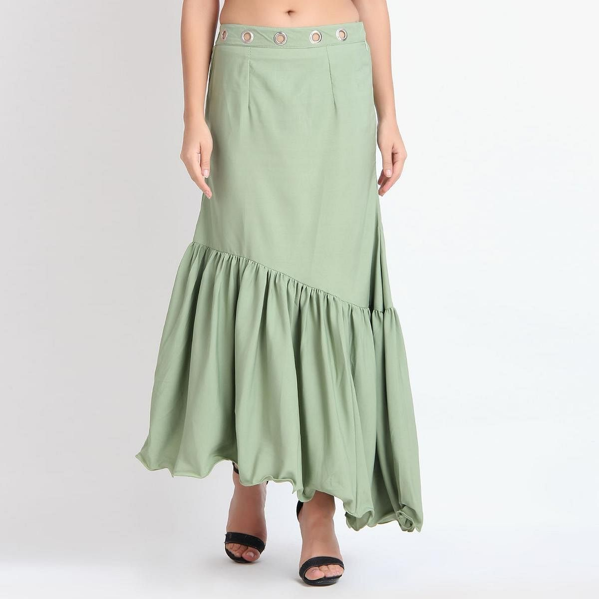 Appealing Light Green Colored Partywear Crepe Skirt