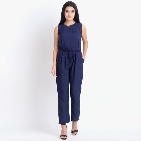 Glorious Blue Colored Casual Wear Crepe Jumpsuit