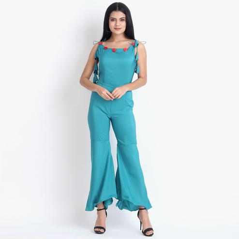 Blooming Blue Colored Casual Wear Crepe Jumpsuit